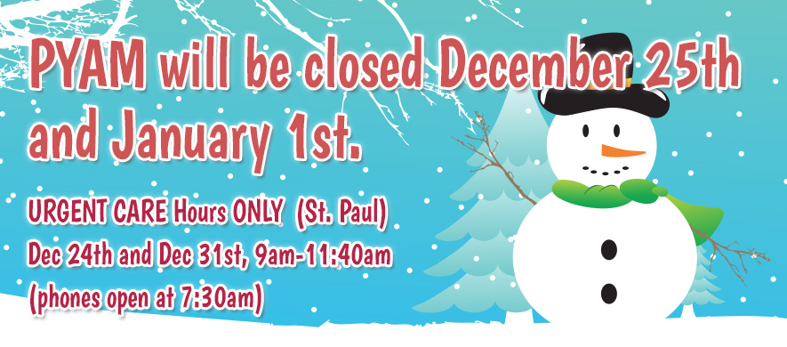 Holiday Hours at Pediatric and Young Adult Medicine