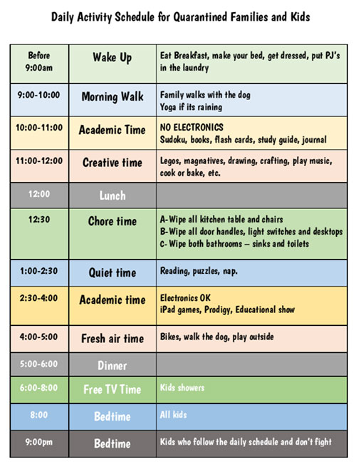 Daily Activity Schedule for Quarantined Families and Kids